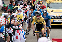 yellow jersey / GC leader Adam Yates (GBR/Mitchelton-Scott) lost touch with the other GC contenders up the Col de Marie Blanque (1st Cat)<br /> <br /> Stage 9 from Pau to Laruns (153km)<br /> <br /> 107th Tour de France 2020 (2.UWT)<br /> (the 'postponed edition' held in september)<br /> <br /> ©kramon