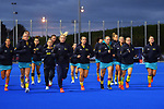 The Hockeyroos warm up for the Sentinel Homes Trans Tasman Series hockey match between the New Zealand Black Sticks Women and the Australian Hockeyroos at Massey University Hockey Turf in Palmerston North, New Zealand on Tuesday, 1 June 2021. Photo: Dave Lintott / lintottphoto.co.nz