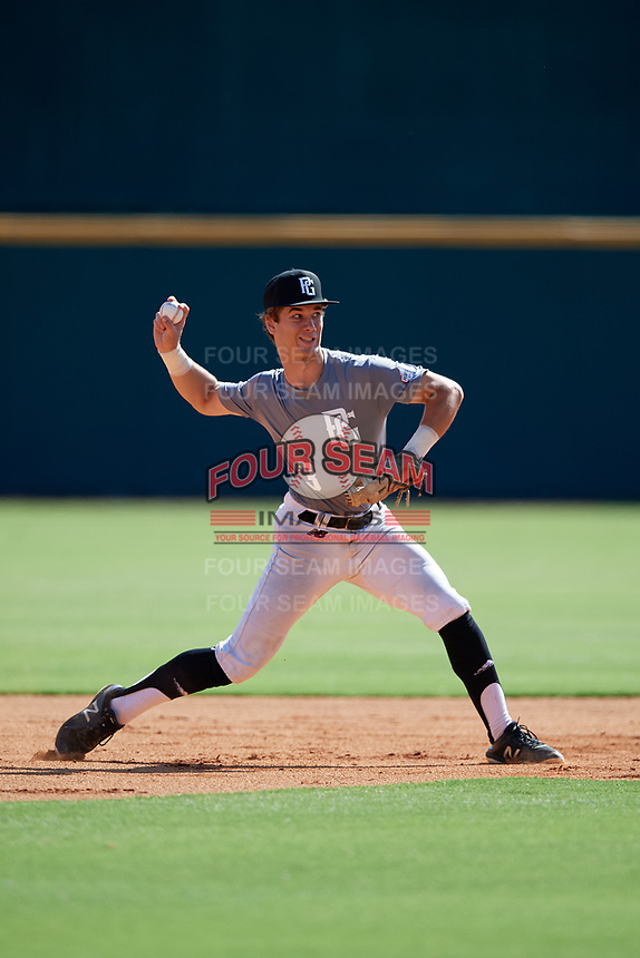 Ty Hodge (3) of College Station High School in College Station, TX during the Perfect Game National Showcase at Hoover Metropolitan Stadium on June 17, 2020 in Hoover, Alabama. (Mike Janes/Four Seam Images)