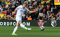 Jay Fulton of Swansea City has a shot on goal during the Premier League match between Watford and Swansea City at Vicarage Road Stadium, Watford, England, UK. Saturday 15 April 2017