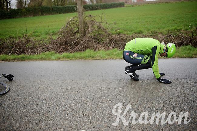 crash by Dylan van Baarle (NLD/Cannondale-Garmin)<br /> <br /> 77th Gent-Wevelgem 2015