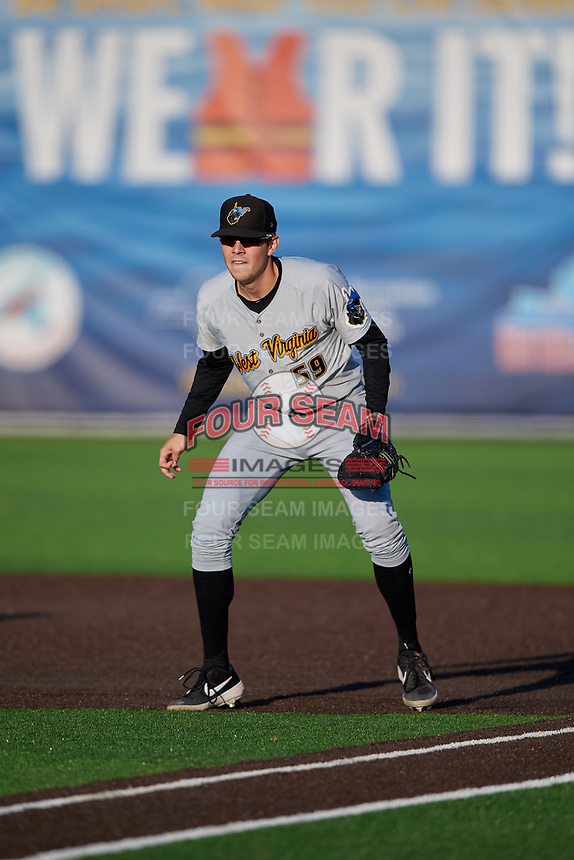 West Virginia Black Bears first baseman Will Matthiessen (59) during a NY-Penn League game against the Auburn Doubledays on August 23, 2019 at Falcon Park in Auburn, New York.  West Virginia defeated Auburn 8-1, the first game of a doubleheader.  (Mike Janes/Four Seam Images)