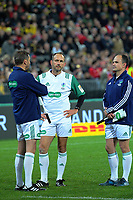 Match officials Jerome Garces (left), Romain Poite and Jaco Peyper (right) during the 2017 DHL Lions Series rugby match between the Hurricanes and British & Irish Lions at Westpac Stadium in Wellington, New Zealand on Tuesday, 27 June 2017. Photo: Dave Lintott / lintottphoto.co.nz