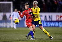 COLUMBUS, OH - NOVEMBER 07: Emily Sonnett #14 of the United States and Lina Hurtig #8 of Sweden battle for a ball during a game between Sweden and USWNT at MAPFRE Stadium on November 07, 2019 in Columbus, Ohio.
