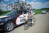 Philipp Walsleben (DEU/BKCP-PowerPlus) checking in with team manager/DS  Christoph Roodhooft<br /> <br /> 2014 Belgium Tour<br /> stage 4: Lacs de l'Eau d'Heure - Lacs de l'Eau d'Heure (178km)