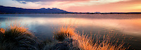 Sunrise on borax pond with Steens mountain.  Borax Lake Preserve, Oregon