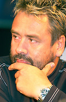 Aug 6 2002, Montreal, Quebec, Canada<br /> <br /> <br /> After beeing handed out a Grand Prize of The Americas Award,<br /> Luc Besson, French Film Maker and Producer(R),answer questions from the medias,<br />  at a press conference, Aug 23,  2002, in  Montreal, Quebec, Canada<br /> <br /> Besson directed many films including Leon, Nikita (Original version), the 5th Element,...