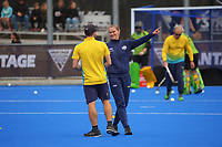 Australia assistant coach Katie Allen during the Sentinel Homes Trans Tasman Series hockey match between the New Zealand Black Sticks Women and the Australian Hockeyroos at Massey University Hockey Turf in Palmerston North, New Zealand on Sunday, 30 May 2021. Photo: Dave Lintott / lintottphoto.co.nz