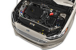 Car Stock 2017 Ford Fusion SE-FWD 4 Door Sedan Engine  high angle detail view