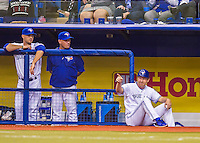 2 April 2016: Toronto Blue Jays first base coach Tim Leiper sits on the dugout steps during a pre-season exhibition series between the Blue Jays and the Boston Red Sox at Olympic Stadium in Montreal, Quebec, Canada. The Red Sox defeated the Blue Jays 7-4 in the second of two MLB weekend games, which saw a two-game series attendance of 106,102 at the former home on the Montreal Expos. Mandatory Credit: Ed Wolfstein Photo *** RAW (NEF) Image File Available ***