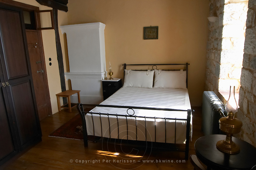 Cell, bedroom. The Tsantalis sponsored monastery. Mount Athos. Tsantali Vineyards & Winery, Halkidiki, Macedonia, Greece. Metoxi Chromitsa of St Panteleimon monastery.