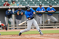 Biloxi Shuckers catcher Payton Henry (15) at bat against the Tennessee Smokies on May 18, 2021, at Smokies Stadium in Kodak, Tennessee. (Danny Parker/Four Seam Images)
