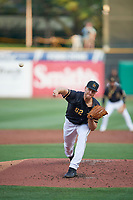 Salt Lake Bees starting pitcher Aaron Slegers (52) throws home during the game against the Reno Aces at Smith's Ballpark on August 24, 2021 in Salt Lake City, Utah. The Aces defeated the Bees 6-5. (Stephen Smith/Four Seam Images)