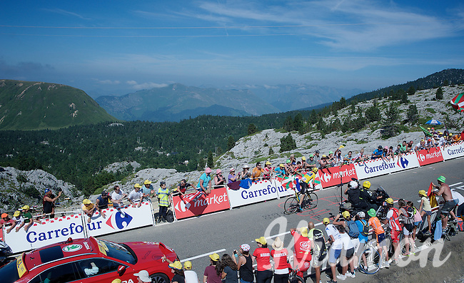 Chris Froome (GBR/SKY) solo up the Col de Soudet (HC/1610m/15.3km/7.4%) as the race/stage-leader 250m from the finish. <br /> He already delivers a knock-out blow to his closest competitors in this first mountain stage.<br /> <br /> stage 10: Tarbes - La Pierre-Saint-Martin (167km)