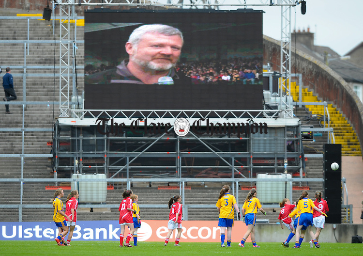 The primary games get under way at half time as Eoin the bomber Liston is interviewed on the big screen at half time during the Munster senior football final at The Gaelic Grounds, Limerick. Photograph by John Kelly.