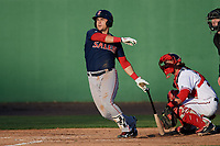 Salem Red Sox third baseman Michael Chavis (11) at bat during the first game of a doubleheader against the Potomac Nationals on May 13, 2017 at G. Richard Pfitzner Stadium in Woodbridge, Virginia.  Potomac defeated Salem 6-0.  (Mike Janes/Four Seam Images)