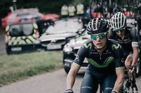 Carlos Betancur (COL/Movistar) up the Mur de Péguère (Cat1/1375m/9.3km/7.9%)<br /> <br /> 104th Tour de France 2017<br /> Stage 13 - Saint-Girons › Foix (100km)