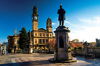 Paisley Town Hall and the Sir Peter Coats statue, Paisley, Renfrewshire