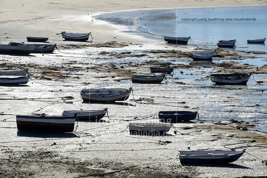 SPAIN, Cardiz, fishing boats at shore during low tide