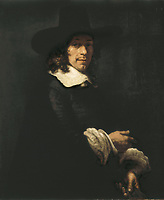 REMBRANDT, Harmenszoon van Rijn, called (1606-1669). Portrait of a Gentleman with a Tall Hat and Gloves. ca.1658-1660. Baroque