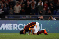 Calcio, Serie A: Roma vs Empoli. Roma, stadio Olimpico, 17 ottobre 2017.<br /> Roma's Mohamed Salah celebrates after scoring during the Italian Serie A football match between Roma and Empoli at Rome's Olympic stadium, 17 October 2015.<br /> UPDATE IMAGES PRESS/Isabella Bonotto
