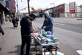 April 12, 2020<br /> Brooklyn, New York<br /> <br /> Selling Covid-19 protection items at the Atlantic Terminal Station.