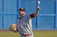 Louisville Bats pitcher Cody Reed (26) throwing in the outfield before a game against the Norfolk Tides at Harbor Park on April 26, 2016 in Norfolk, Virginia. Louisville defeated defeated Norfolk 7-2. (Robert Gurganus/Four Seam Images)