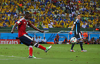Cristian Zapata of Colombia takes a goal kick instead of goalkeeper David Ospina