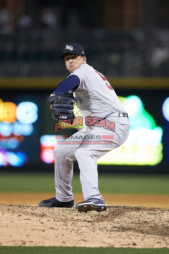 Scranton/Wilkes-Barre RailRiders relief pitcher Jonathan Holder (21) in action against the Charlotte Knights at BB&T BallPark on April 12, 2018 in Charlotte, North Carolina.  The RailRiders defeated the Knights 11-1.  (Brian Westerholt/Four Seam Images)