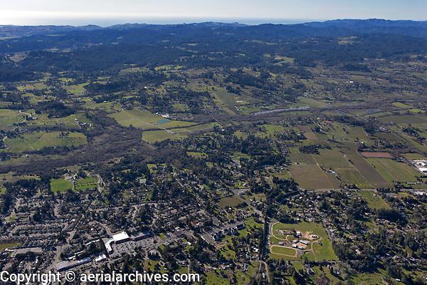 aerial photograph of Sebastopol to the Pacific Ocean, Sonoma County, California