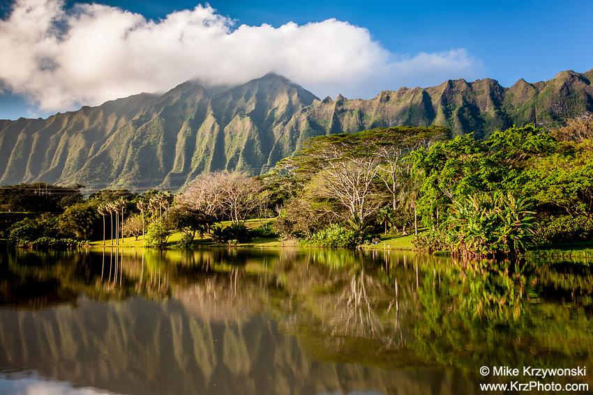 Ko'olau mountains reflecting off of a pond at Ho'omaluhia Botanical Garden, Kaneohe, Oahu, Hawaii