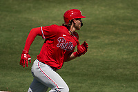 Philadelphia Phillies Alec Bohm (28) runs to first base during a Major League Spring Training game against the Baltimore Orioles on March 12, 2021 at the Ed Smith Stadium in Sarasota, Florida.  (Mike Janes/Four Seam Images)