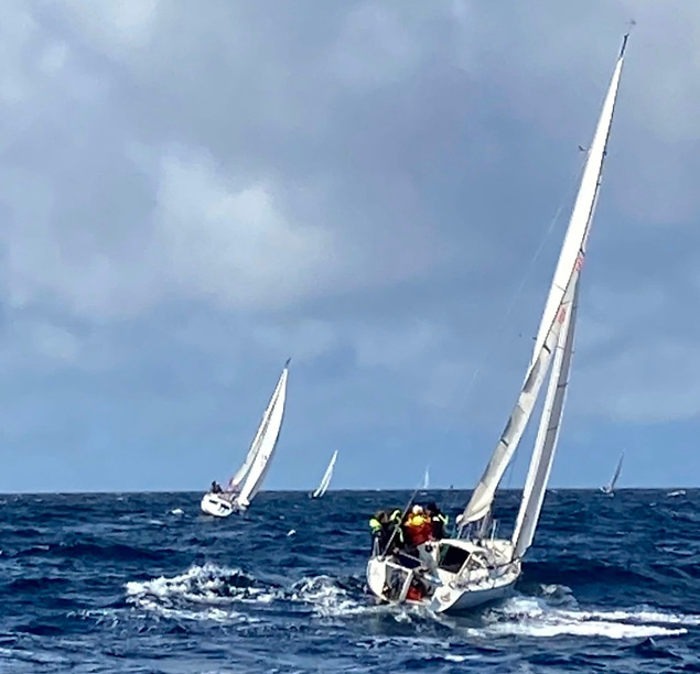 Racing the Atlantic during Lamb's Week, Aaron O'Reily's Kondon Buntz in foreground.