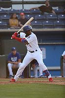Sauryn Lao (5) of the Rancho Cucamonga Quakes bats against the Visalia Rawhide at LoanMart Field on June 17, 2021 in Rancho Cucamonga, California. (Larry Goren/Four Seam Images)