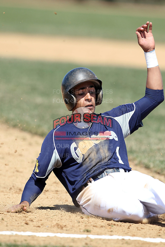Genesee Community College Cougars outfielder Nathan Smith #1 during a game against the Ithaca JV team at Genesee Community College on April 9, 2011 in Batavia, New York.  Photo By Mike Janes/Four Seam Images