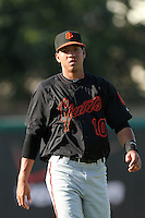San Jose Giants shortstop Ehire Adrianza #10 before a game against the Inland Empire 66'ers at Arrowhead Credit Union Park on July 31, 2011 in San Bernardino,California. San Jose defeated Inland Empire 6-3.(Larry Goren/Four Seam Images)