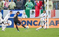 CARSON, CA - March 25, 2012: Alan Pulido (19) of Mexico striking his goal kick during the Mexico vs Honduras match at the Home Depot Center in Carson, California. Final score Mexico 3, Honduras 0.
