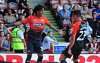 Swansea City's Yan Dhanda celebrates scoring his side's second goal with team mate Connor Roberts during the Sky Bet Championship match between Sheffield United and Swansea City at Bramall Lane, Sheffield, England, UK. Saturday 04 August 2018