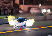 Sep 13, 2019; Mohnton, PA, USA; NHRA funny car driver John Force crosses the center line and hits the forming timing blocks during qualifying for the Reading Nationals at Maple Grove Raceway. Mandatory Credit: Mark J. Rebilas-USA TODAY Sports