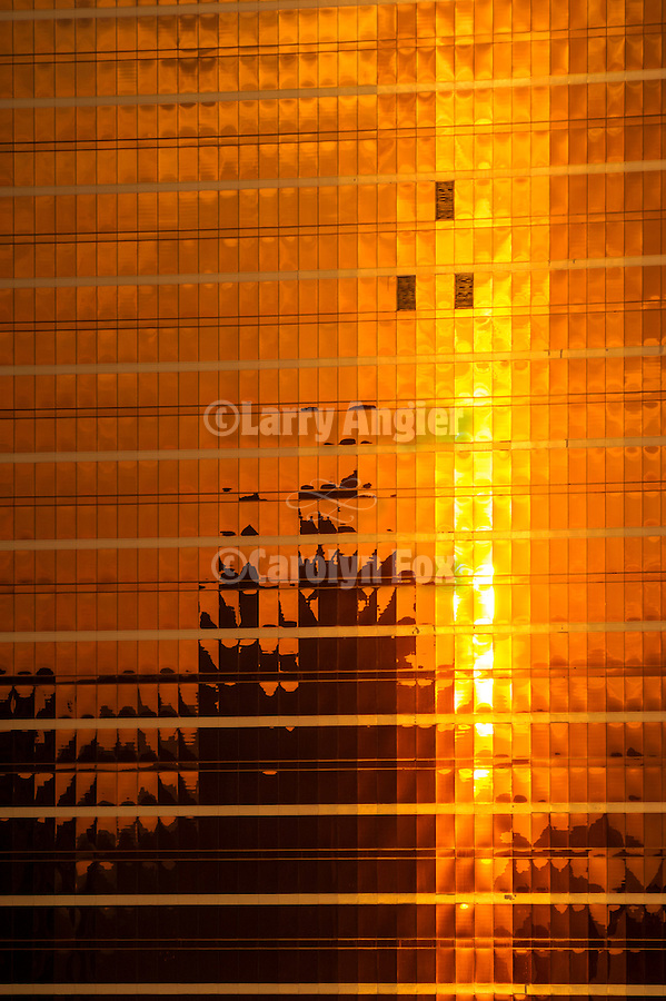 Encore high rise resort hotel, Las Vegas Strip, sunrise.