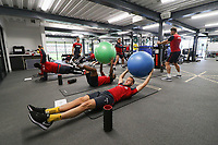Mike van der Hoorn and Luciano Narsingh exercise in the gym during the Swansea City Training at The Fairwood Training Ground, Swansea, Wales, UK. Thursday 21 September 2017