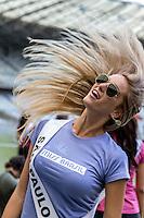 BELO HORIZONTE, MG, 25.092.13 - MISS BRAZIL MINEIRÃO - Miss São Paulo, Bruna Michels, uma das candidatas que disputam o título de Miss Brasil 2013, visita o estádio Mineirão, na cidade de Belo Horizonte (MG), nesta quarta-feira. (Foto: Nereu Jr / Brazil Photo Press).