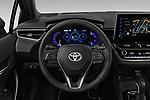 Car pictures of steering wheel view of a 2019 Toyota Corolla-Hybrid Premium 5 Door Hatchback Steering Wheel