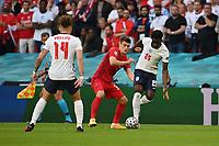 7th July 2021, Wembley Stadium, London, England; 2020 European Football Championships (delayed) semi-final, England versus Denmark;   Kalvin PHILLIPS ENG , Joakim MAEHLE DEN , Bukayo SAKA ENG