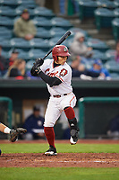 Altoona Curve first baseman Connor Joe (6) at bat during a game against the New Hampshire Fisher Cats on May 11, 2017 at Peoples Natural Gas Field in Altoona, Pennsylvania.  Altoona defeated New Hampshire 4-3.  (Mike Janes/Four Seam Images)