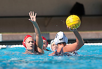 STANFORD, CA -- March 3, 2012: Jillian Garton during the Stanford vs. Long Beach State water polo game Saturday afternoon at the Avery Stadium at Stanford.<br /> <br /> Stanford defeated Long Beach State 14-4.