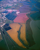 aerial overview of the San Francisco bay salt pond system wetlands and sloughs