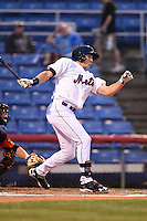 Binghamton Mets outfielder Brandon Nimmo (25) at bat during a game against the Bowie Baysox on August 3, 2014 at NYSEG Stadium in Binghamton, New York.  Bowie defeated Binghamton 8-2.  (Mike Janes/Four Seam Images)