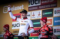 Final World Cup Classifications podium with World Cup winner Toon Aerts (BEL/Telenet Baloise Lions), runner-up Eli Iserbyt (BEL/Marlux-Bingoal) and 3th place for Michael Vanthourenhout (BEL/Pauwels Sauzen - Bingoal)<br /> <br /> Men Elite Race<br /> UCI Cyclocross Worldcup – Hoogerheide (Netherlands)<br /> <br /> ©kramon