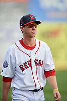 Salem Red Sox Ryan Scott (36) warms up before a game against the Lynchburg Hillcats on May 10, 2018 at Haley Toyota Field in Salem, Virginia.  Lynchburg defeated Salem 11-5.  (Mike Janes/Four Seam Images)